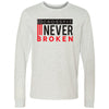CrossFit Never Broken - 100 - Flag - Bella + Canvas 3501 - Men's Long Sleeve Jersey Tee
