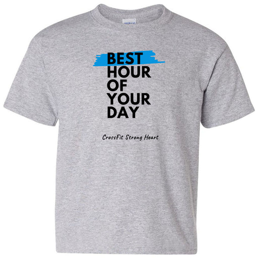 CrossFit Strong Heart - 100 - Best Hour of Your Day Stacked - Gildan - Heavy Cotton Youth T-Shirt
