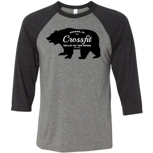CrossFit Valley of the Moon - 100 - 05 Wilderness - Bella + Canvas - Men's Three-Quarter Sleeve Baseball T-Shirt