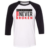 CrossFit Never Broken - 100 - Flag - Bella + Canvas - Men's Three-Quarter Sleeve Baseball T-Shirt