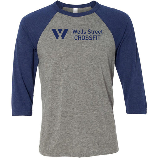 Wells Street CrossFit - 100 - Standard - Bella + Canvas - Men's Three-Quarter Sleeve Baseball T-Shirt