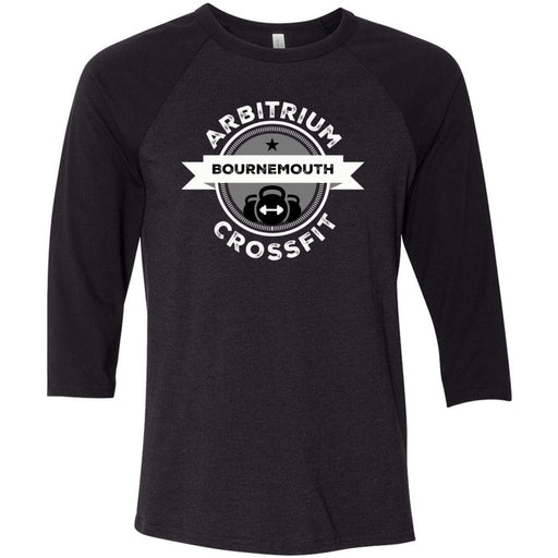 Arbitrium CrossFit - 100 - Black and White - Bella + Canvas - Men's Three-Quarter Sleeve Baseball T-Shirt