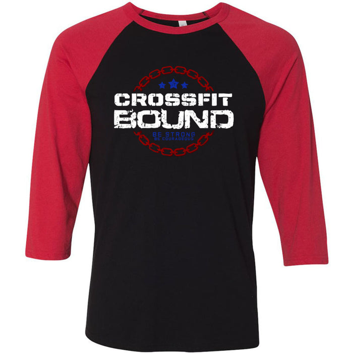 CrossFit Bound - 100 - CFB - Bella + Canvas - Men's Three-Quarter Sleeve Baseball T-Shirt