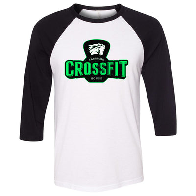 Carriage House CrossFit - 100 - Green - Bella + Canvas - Men's Three-Quarter Sleeve Baseball T-Shirt