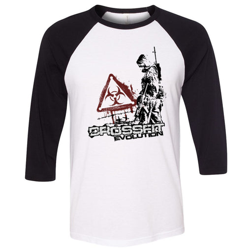 CrossFit Evolution - 100 - Biohazard - Bella + Canvas - Men's Three-Quarter Sleeve Baseball T-Shirt