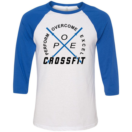 Perform Overcome Excel CrossFit - 100 - Standard - Bella + Canvas - Men's Three-Quarter Sleeve Baseball T-Shirt