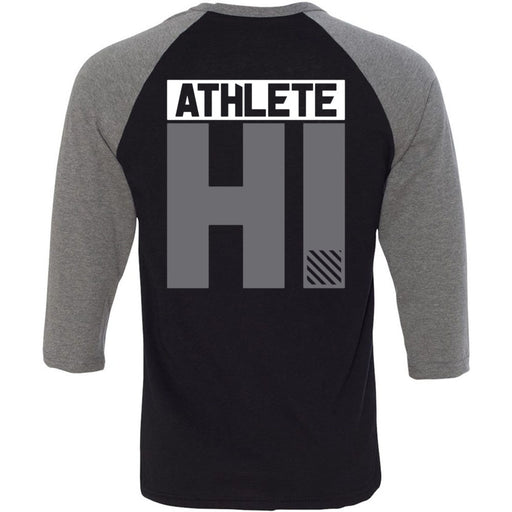 CrossFit Oahu - 202 - HI White Gray - Bella + Canvas - Men's Three-Quarter Sleeve Baseball T-Shirt