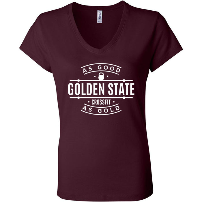 Golden State CrossFit - 100 - As Good As Gold - Bella + Canvas - Women's Short Sleeve Jersey V-Neck Tee