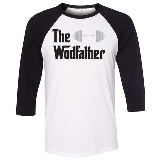 CrossFit Inua - 202 - The Wodfather - Bella + Canvas - Men's Three-Quarter Sleeve Baseball T-Shirt