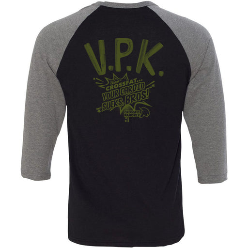 CrossFit Panoply - 202 - VPK Military Green - Bella + Canvas - Men's Three-Quarter Sleeve Baseball T-Shirt