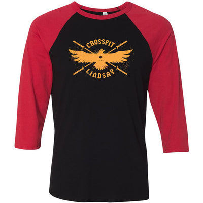 CrossFit Lindsay - 100 - Orange - Bella + Canvas - Men's Three-Quarter Sleeve Baseball T-Shirt