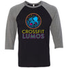 CrossFit Lumos - 100 - Neon - Bella + Canvas - Men's Three-Quarter Sleeve Baseball T-Shirt