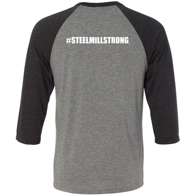 Steel Mill CrossFit Fleming Island - 202 - Strong - Bella + Canvas - Men's Three-Quarter Sleeve Baseball T-Shirt