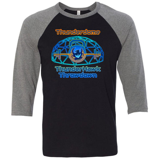 CrossFit Thunderhawk - 202 - Thunderdome - Bella + Canvas - Men's Three-Quarter Sleeve Baseball T-Shirt