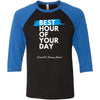 CrossFit Strong Heart - 100 - Best Hour of Your Day Stacked - Bella + Canvas - Men's Three-Quarter Sleeve Baseball T-Shirt
