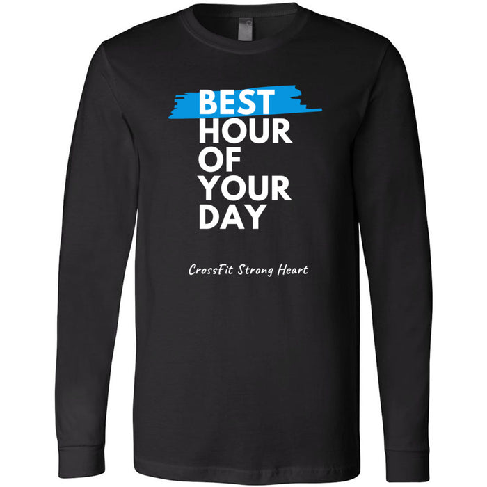 CrossFit Strong Heart - 100 - Best Hour of Your Day Stacked - Bella + Canvas 3501 - Men's Long Sleeve Jersey Tee