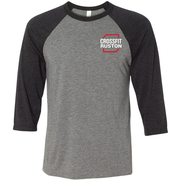 CrossFit Ruston - 100 - Standard - Bella + Canvas - Men's Three-Quarter Sleeve Baseball T-Shirt