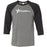 South Island CrossFit - 100 - Stacked - Bella + Canvas - Men's Three-Quarter Sleeve Baseball T-Shirt