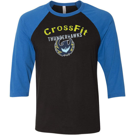 CrossFit ThunderHawk - 100 - ThunderHawks - Bella + Canvas - Men's Three-Quarter Sleeve Baseball T-Shirt