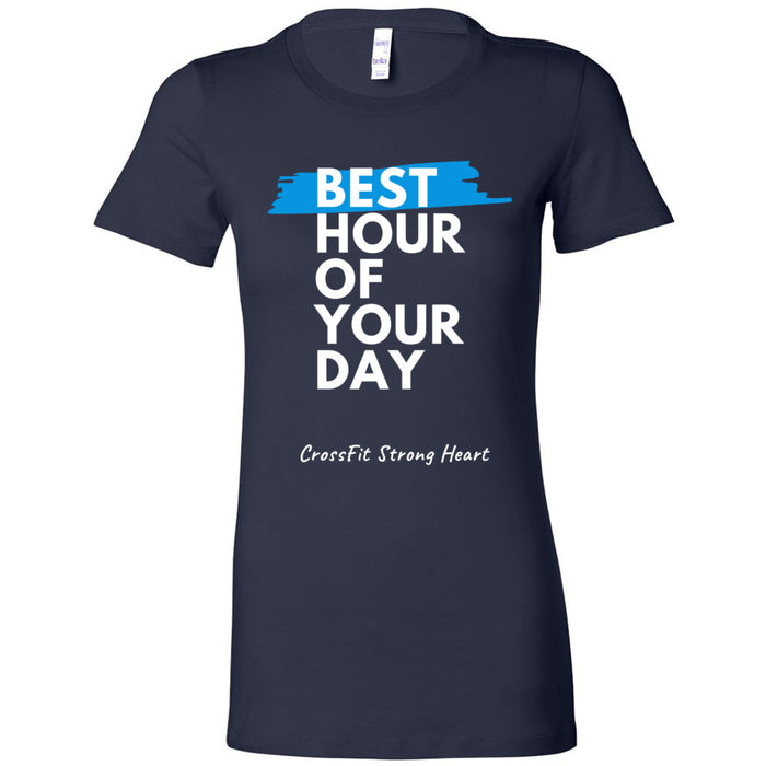 CrossFit Strong Heart - 100 - Best Hour of Your Day Stacked - Bella + Canvas - Women's The Favorite Tee