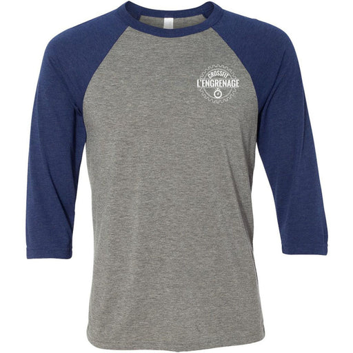 CrossFit L'Engrenage - 100 - Pocket - Bella + Canvas - Men's Three-Quarter Sleeve Baseball T-Shirt