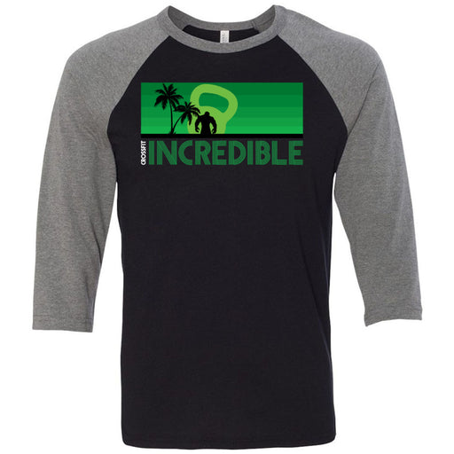 CrossFit Incredible - 202 - Green - Bella + Canvas - Men's Three-Quarter Sleeve Baseball T-Shirt