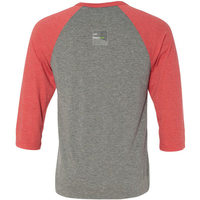CrossFit Chalkbox - 202 - Built by Chalkbox - Bella + Canvas - Men's Three-Quarter Sleeve Baseball T-Shirt