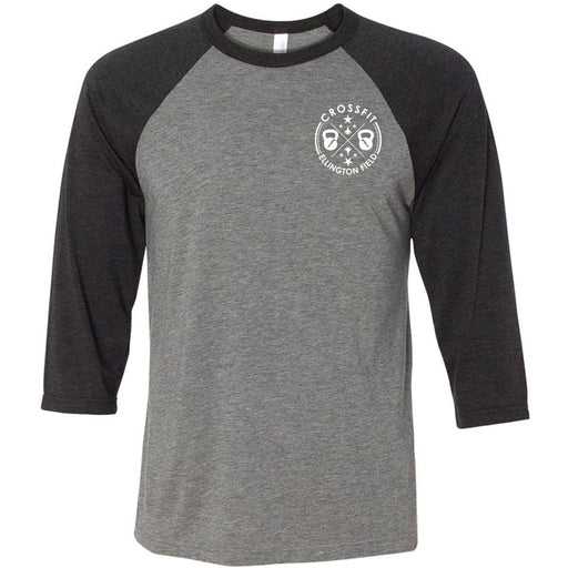 CrossFit Ellington Field - 100 - Pocket - Bella + Canvas - Men's Three-Quarter Sleeve Baseball T-Shirt