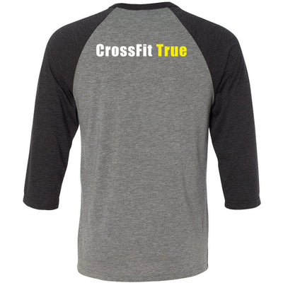 CrossFit True - 202 - Pocket - Bella + Canvas - Men's Three-Quarter Sleeve Baseball T-Shirt