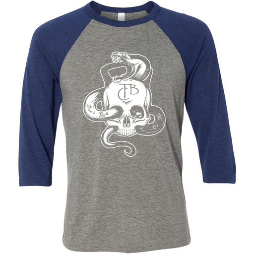 CrossFit TakeBack - 100 - Skull - Bella + Canvas - Men's Three-Quarter Sleeve Baseball T-Shirt