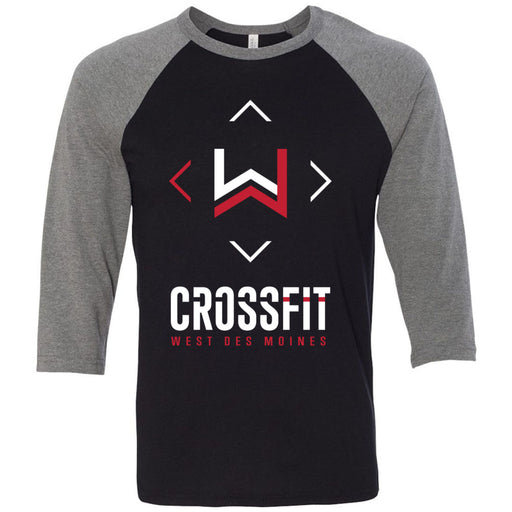 CrossFit West Des Moines - 100 - Stacked - Bella + Canvas - Men's Three-Quarter Sleeve Baseball T-Shirt
