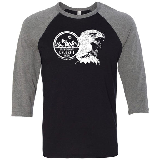 CrossFit Gibsons - 202 - Eagle - Bella + Canvas - Men's Three-Quarter Sleeve Baseball T-Shirt