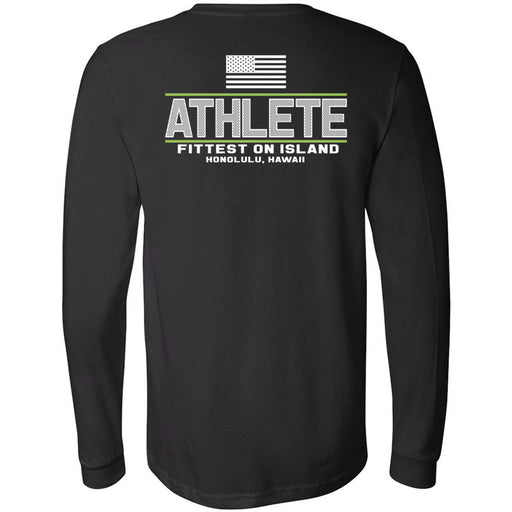 CrossFit Oahu - 202 - Fittest White Green - Bella + Canvas 3501 - Men's Long Sleeve Jersey Tee