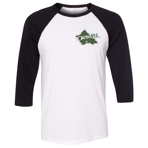 CrossFit Oahu - 202 - Hawaiian Pukie - Bella + Canvas - Men's Three-Quarter Sleeve Baseball T-Shirt
