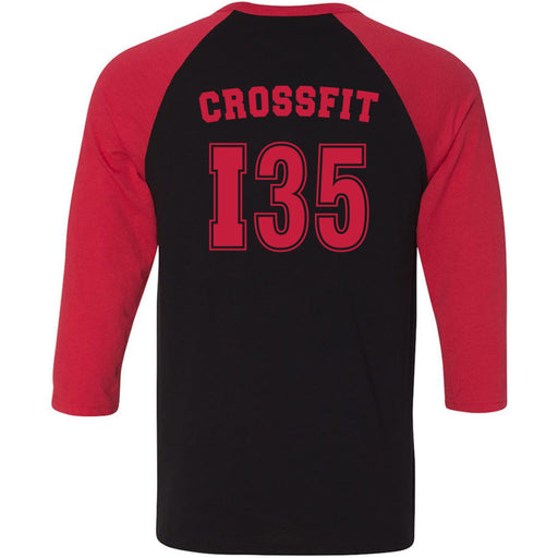CrossFit I35 - 202 - Athletic Red - Bella + Canvas - Men's Three-Quarter Sleeve Baseball T-Shirt