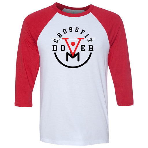 CrossFit Dover - 100 - Barbell - Bella + Canvas - Men's Three-Quarter Sleeve Baseball T-Shirt