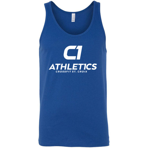 CrossFit St. Croix - 100 - Stacked White - Bella + Canvas - Men's Jersey Tank