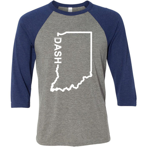 CrossFit Dash - 100 - Indiana Dash - Bella + Canvas - Men's Three-Quarter Sleeve Baseball T-Shirt