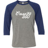 CrossFit 350 - 100 - Script - Bella + Canvas - Men's Three-Quarter Sleeve Baseball T-Shirt