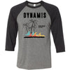 Dynamis CrossFit - 100 - Palm Tree Black - Bella + Canvas - Men's Three-Quarter Sleeve Baseball T-Shirt
