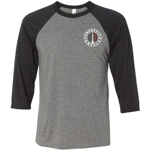 CrossFit Angola - 100 - Pocket - Bella + Canvas - Men's Three-Quarter Sleeve Baseball T-Shirt