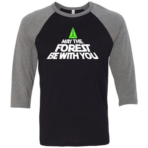CrossFit Forest - 202 - May the Forest Be With You - Bella + Canvas - Men's Three-Quarter Sleeve Baseball T-Shirt