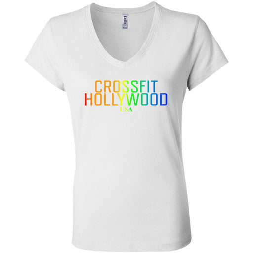 CrossFit Hollywood - 200 - Rainbow - Bella + Canvas - Women's Short Sleeve Jersey V-Neck Tee