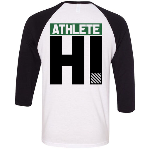 CrossFit Oahu - 202 - HI Green Black - Bella + Canvas - Men's Three-Quarter Sleeve Baseball T-Shirt