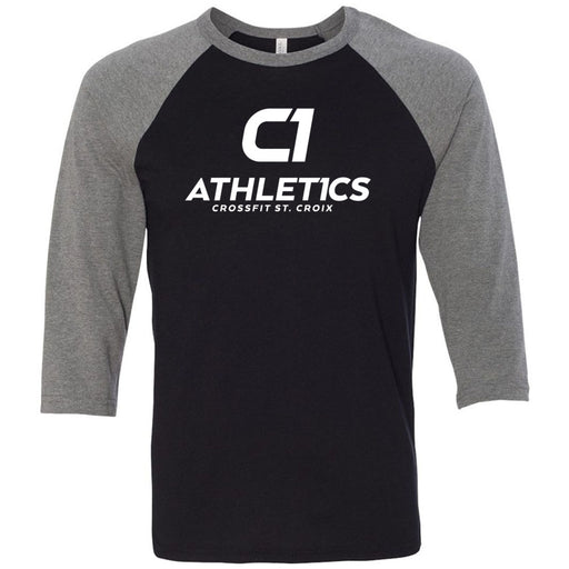 CrossFit St. Croix - 100 - Stacked White - Bella + Canvas - Men's Three-Quarter Sleeve Baseball T-Shirt