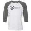 Dignified CrossFit - 100 - Stacked - Bella + Canvas - Men's Three-Quarter Sleeve Baseball T-Shirt