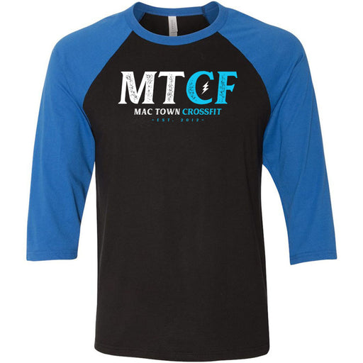 Mac Town CrossFit - 100 - Blue Lightning - Bella + Canvas - Men's Three-Quarter Sleeve Baseball T-Shirt