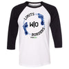 Steel Mill CrossFit Fleming Island - 100 - Limits Without Borders - Bella + Canvas - Men's Three-Quarter Sleeve Baseball T-Shirt