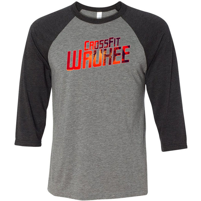 CrossFit Waukee - 100 - Summer - Bella + Canvas - Men's Three-Quarter Sleeve Baseball T-Shirt