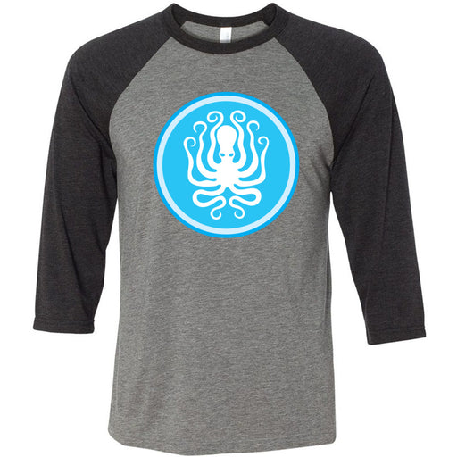 Like Water CrossFit - 202 - Octopus - Bella + Canvas - Men's Three-Quarter Sleeve Baseball T-Shirt